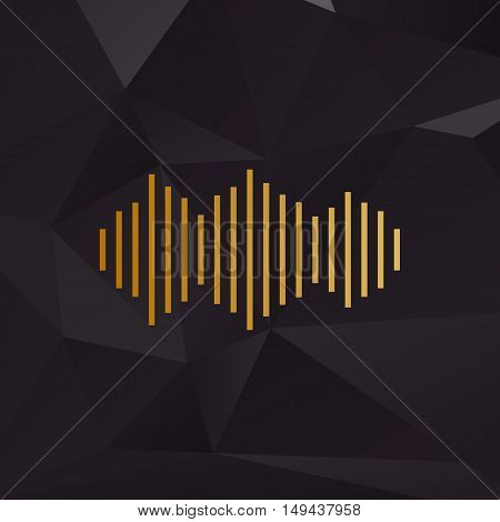 Sound Waves Icon. Golden Style On Background With Polygons.