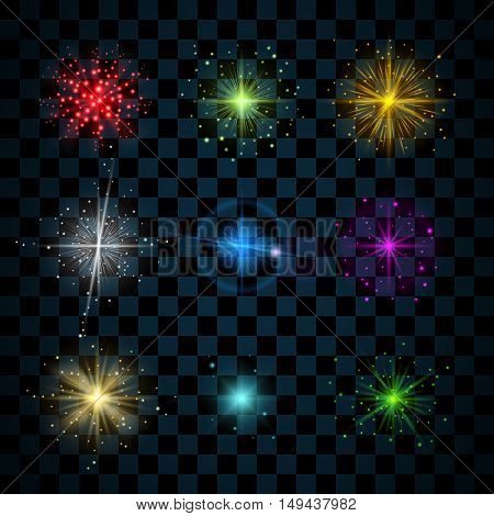 Shine stars with glitters and sparkles icons set. Effect twinkle glare scintillation element sign graphic light. Transparent design elements on dark background. Varied template. Vector illustration