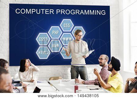 Computer Programming IT Codes Development Concept