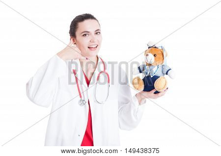 Young Female Medic With Teddy Bear