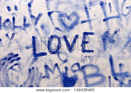 Graffiti pattern, background in blue color with word love