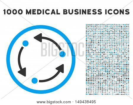 Rotate icon with 1000 medical commerce gray and blue vector pictograms. Collection style is flat bicolor symbols, white background.