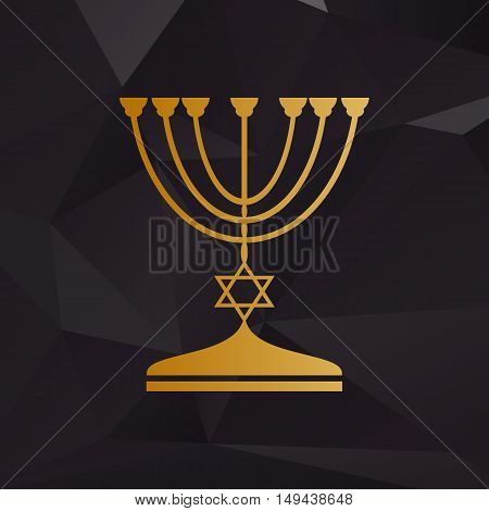 Jewish Menorah Candlestick In Black Silhouette. Golden Style On Background With Polygons.