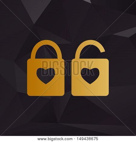 Lock Sign With Heart Shape. A Simple Silhouette Of The Lock. Shape Of A Heart. Golden Style On Backg