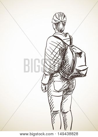 Sketch of woman with backpack Hand drawn vector illustration