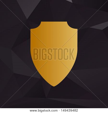 Shield Sign Illustration. Golden Style On Background With Polygons.