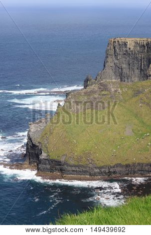 Landscape view of the Cliffs of Moher. County Clare Ireland