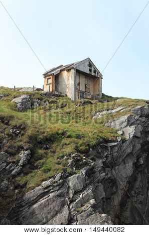 Old house on a cliff in Ireland