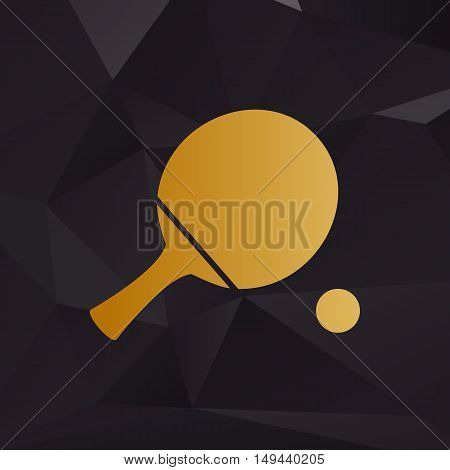 Ping Pong Paddle With Ball. Golden Style On Background With Polygons.