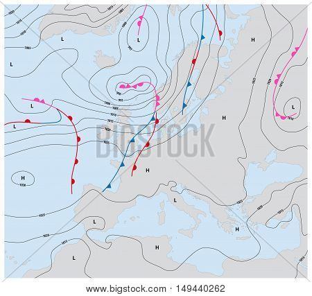 imaginary weather map europe showing isobars and weather fronts