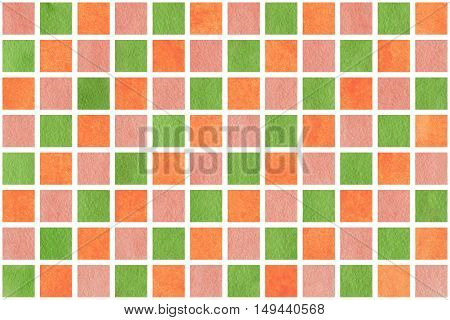 Watercolor Orange, Pink And Green Squares
