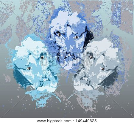 Grunge winter background with three abstract face. White, gray and blue scary faces on a scratched background