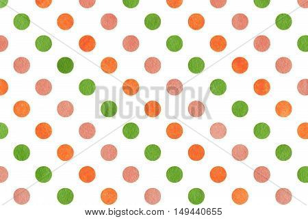 Watercolor Orange, Pink And Green Polka Dot Background.