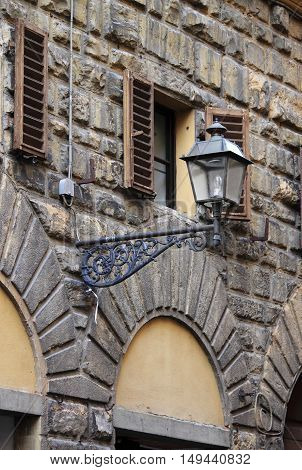 Closeup view of an old medieval street lamp