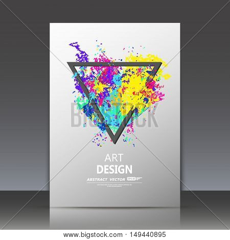 Abstract composition, spotted blot structure, smeary oil paint blur, sloppy surface backdrop, soiled brochure title sheet, splotchy rainbow color triangle icon, fashionable fiber texture, vector