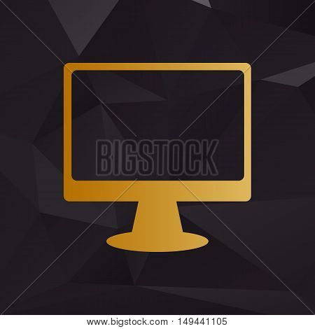 Monitor With Brush Sign. Golden Style On Background With Polygons.