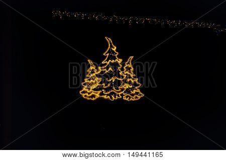 christmas decoration whit white light black tree