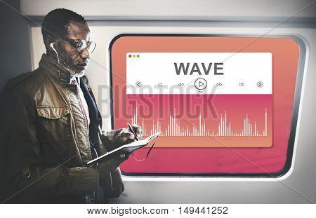 Train Music Man Standing Concept