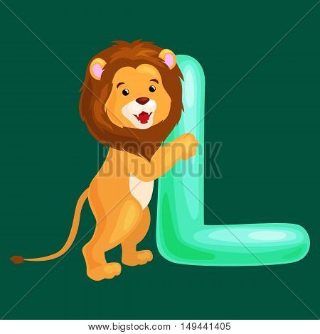 lion animal and letter L for kids abc education in preschool.