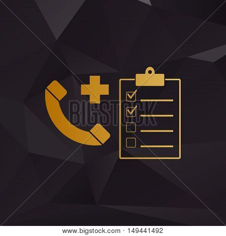Medical Consultration Sign. Golden Style On Background With Polygons.