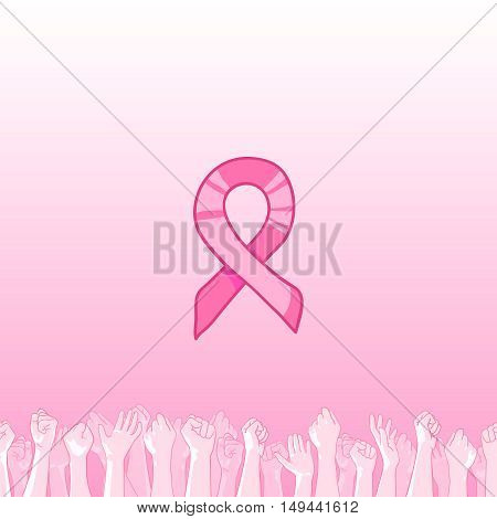 Pink ribbon, international symbol of breast cancer awareness. hand drawn illustration with raised hands of many people