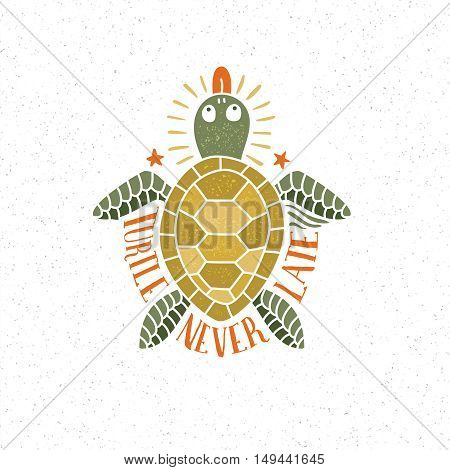 Handmade lettering, logo with colored turtle in retro, hipster style. Background and texture on separate layers.