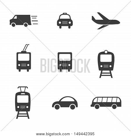 Transport set icons. Transport set Vector icons isolated on white background. Flat vector illustration in black. EPS 10