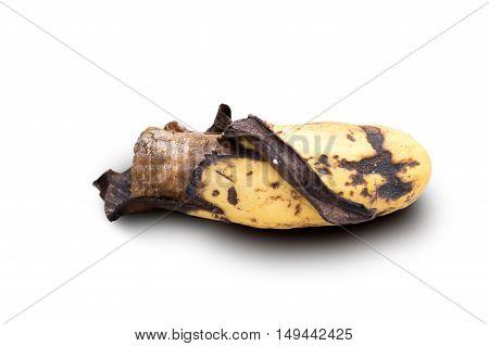 detail of banana ripe peel isolated on white background