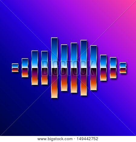 80s styled sound wave. 1980 chrome design