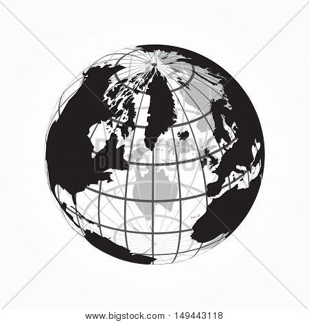 around the world ( outline of world map with latitude and longitude )