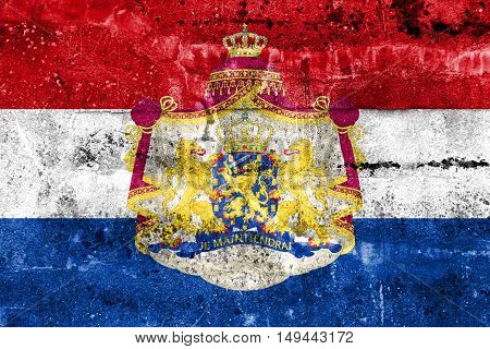 Flag Of Netherlands With Coat Of Arms, Painted On Dirty Wall
