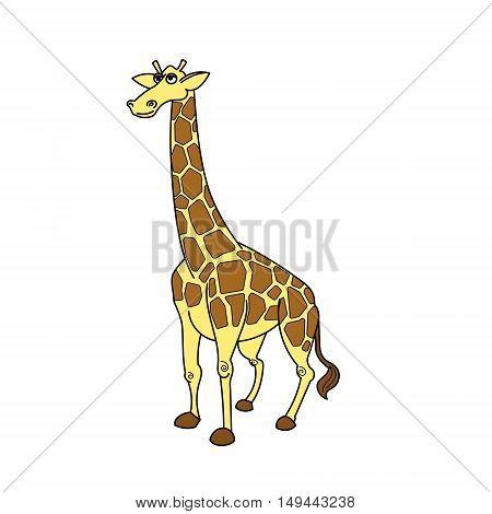 Giraffe african savannah animal cartoon vector illustration for children