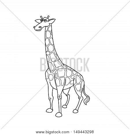 Coloring book giraffe african savannah animal cartoon vector illustration for children