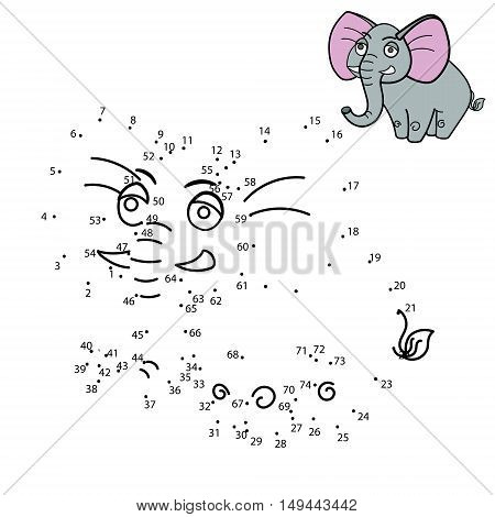 Connect the dots to draw the animal educational game for children elephant vector illustration