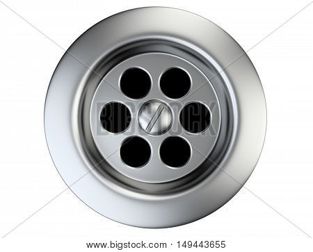 Stainless steel sink drain isolated on a white. 3d illustration.