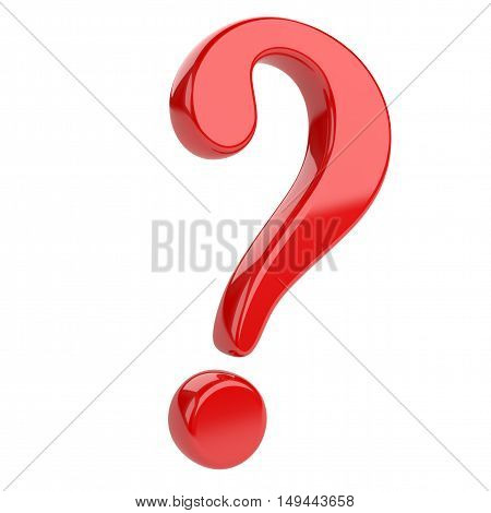 Red glossy question mark. Isolated on white backgrouind 3d illustration