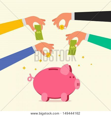 Businessman hands saving money coins and banknotes into piggy bank. Donation or investment concept. Time deposit or transaction account image. Flat style vector illustration.