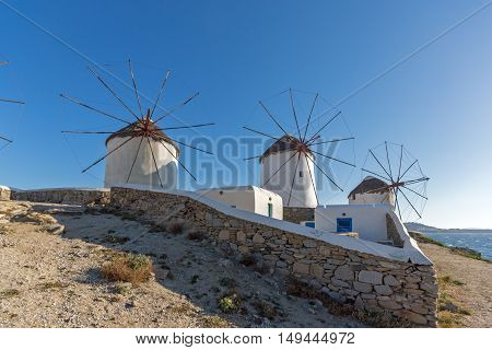 White windmill and blue sky on the island of Mykonos, Cyclades, Greece