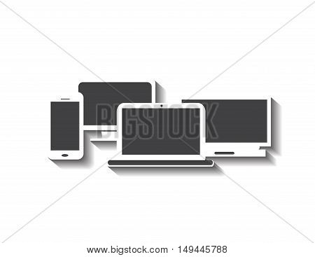 Computer devices with smart phone, office computer and laptop with shadow