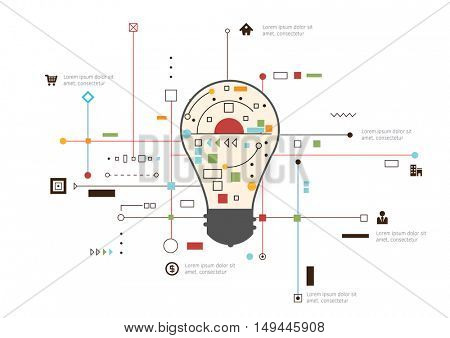 Vector idea Infographic template - bulb shape on abstract background.