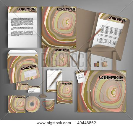 Multicolor corporate identity template design with multicolor strips. Business set stationery.