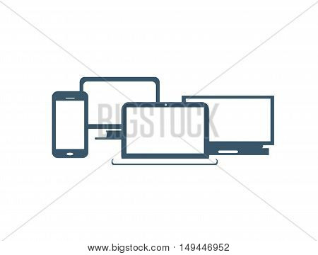 Computer devices with smart phone, office computer and laptop flat design