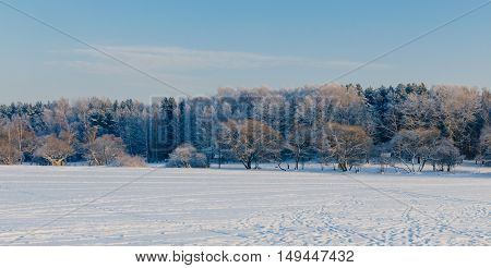 Beautiful landscape on the frozen sea in winter time