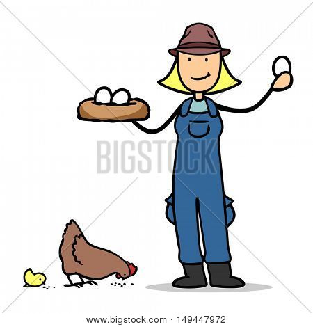 Farmer with free range chicken and organic eggs