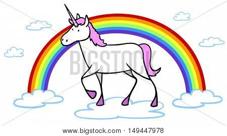 Cartoon of pink fairy tale unicorn with rainbow and clouds