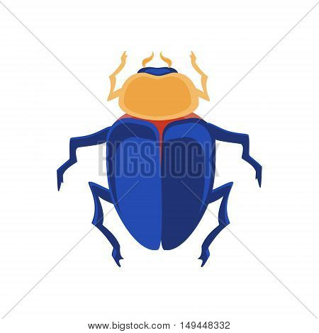 Vector illustration egyptian scarab beetle. Egyptian icons. Colorful the Egyptian sacred bug a scarab a symbol of the sun