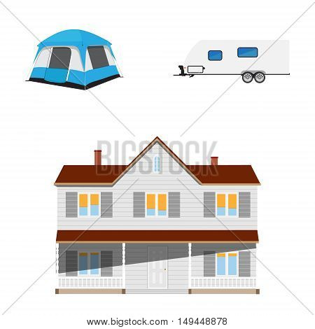 Vector illustration recreative vehicle and blue camping tent. Trailer camper. rv camper trailer icon. Modern realistic caravan. New cottage real estate.