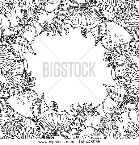 Nature frame with Grass, fern, mushrooms in doodle style. Floral, ornate, decorative, tribal vector design elements. Black and white monochrome background. Zentangle hand drawn coloring book page