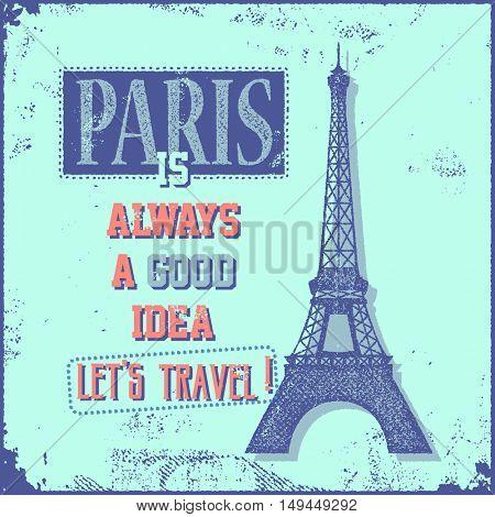 Vintage Touristic Greeting Card - Paris France. Vector illustration.