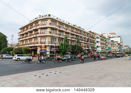 Beautiful Building In Phnom Penh Housing Multiple Hotels And Other Businesses.